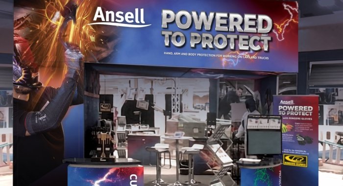 Ansell SEMA show Trade Show booth backside display