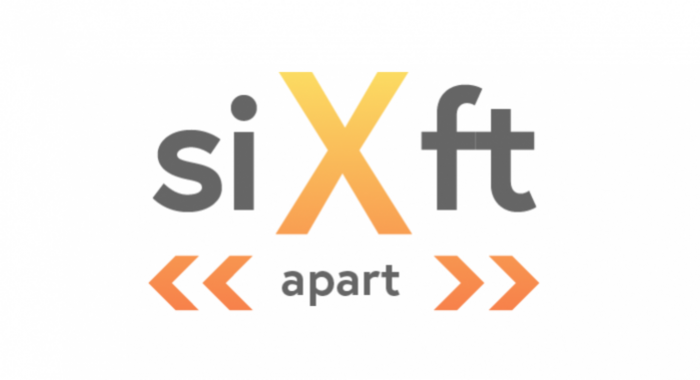 Six Feet Apart logo with large X and double arrows on either side of the word apart