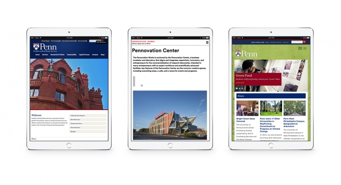 University of Pennsylvania websites on ipads