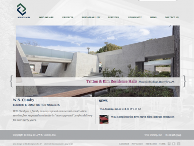 W.S. Cumby Fully Responsive Website, Homepage