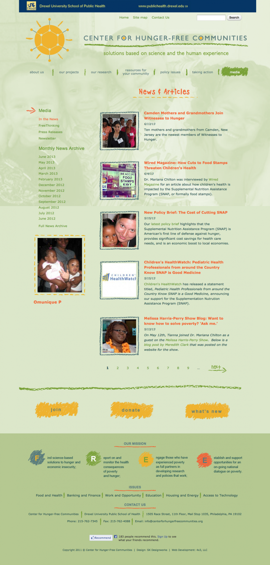 The Center for Hunger-Free Communities, upload new content, post news items, or add new media