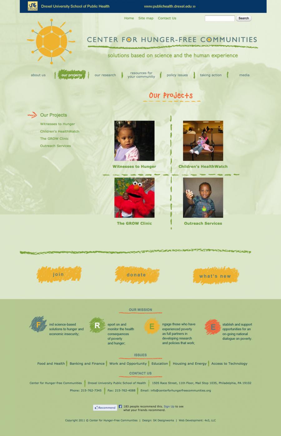 The Center for Hunger-Free Communities Website, part of Drexel University's School of Public Health