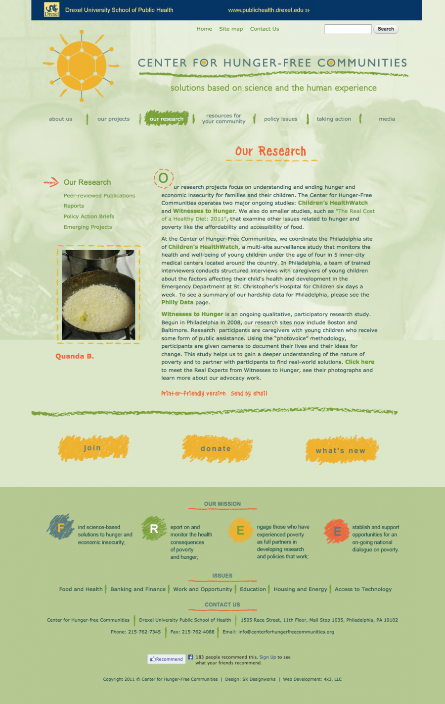 The Center for Hunger-Free Communities, an organized expandable website