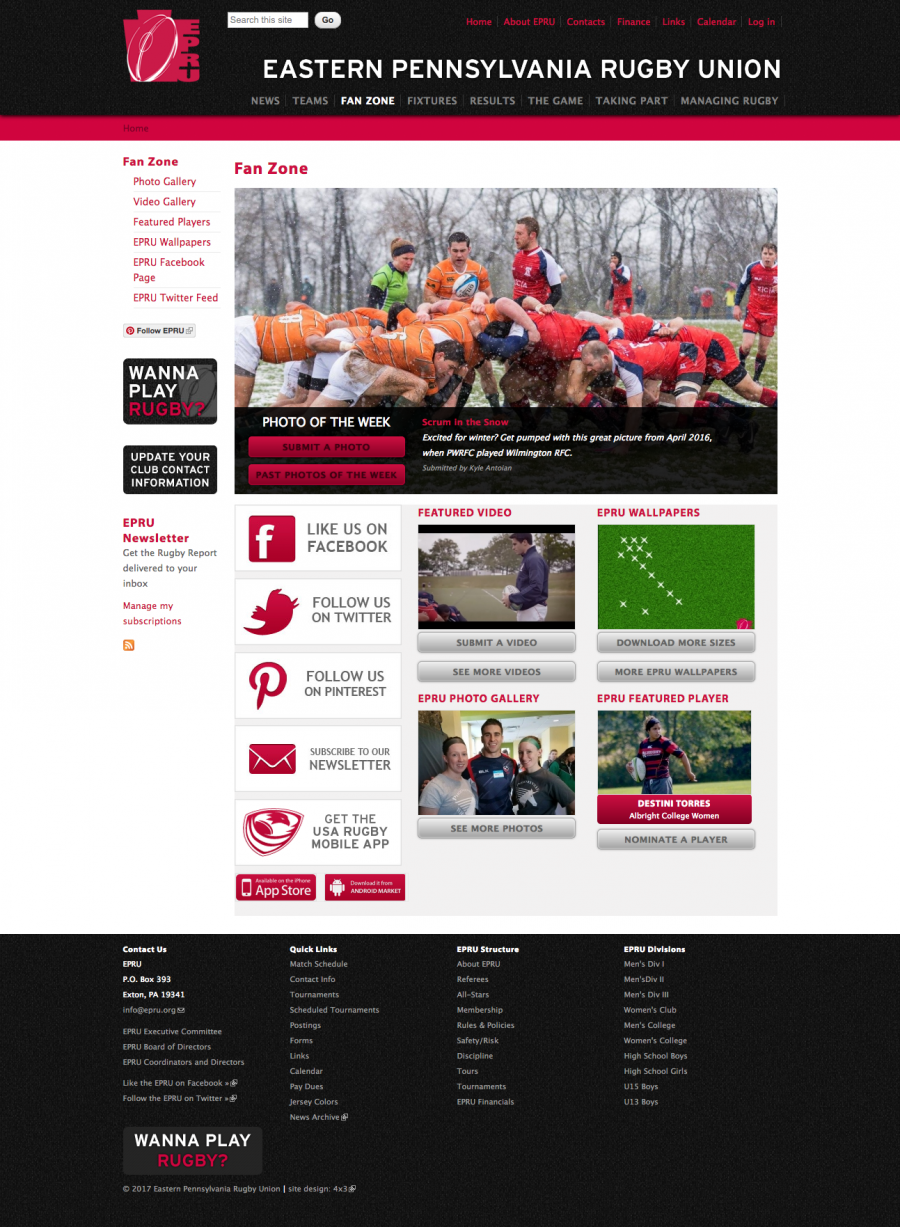 Eastern Pennsylvanian Rugby Union Fan Zone Landing Page for Club Photos, Videos and Featured Players