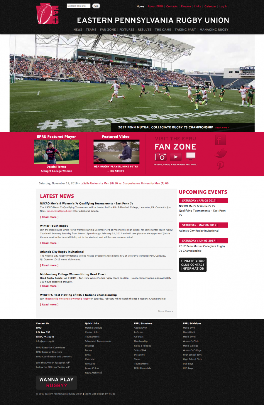 Eastern Pennsylvanian Rugby Union Home Page for News and Upcoming Tournaments