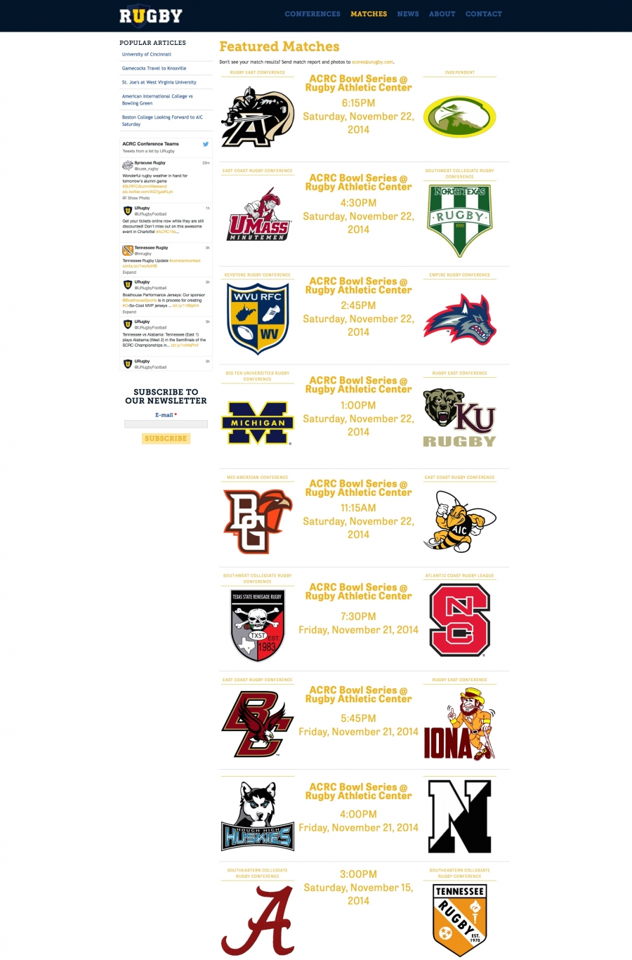 URugby, Internal Landing Page for Highlighted Collegiate Matches