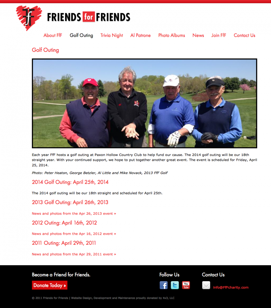 Internal Landing Page for Annual Golf Outing