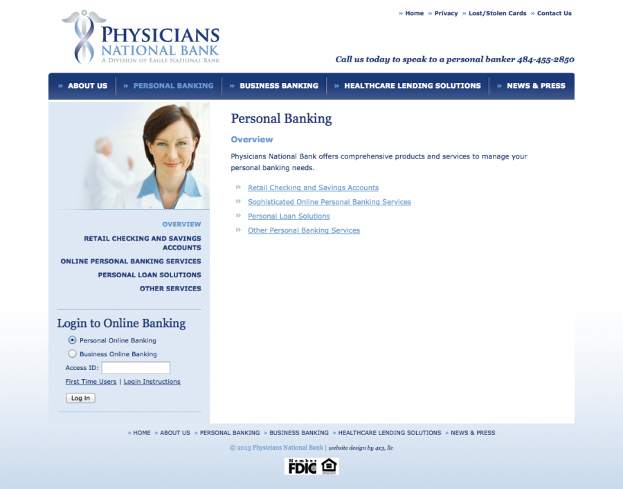 Physicians National Bank, Information about Banking Landing Page