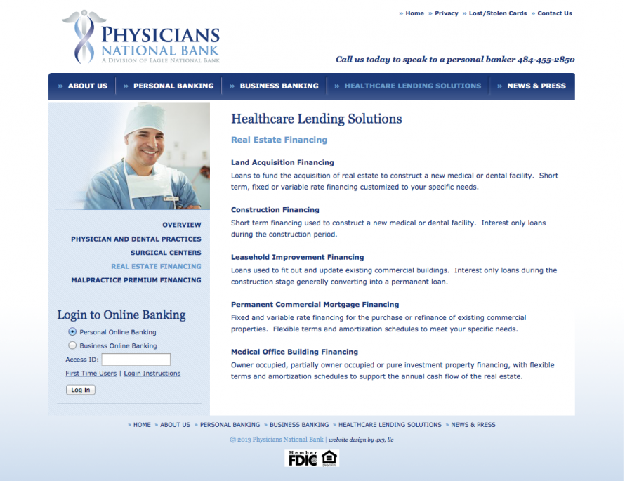 Physicians National Bank, Financing Landing Page