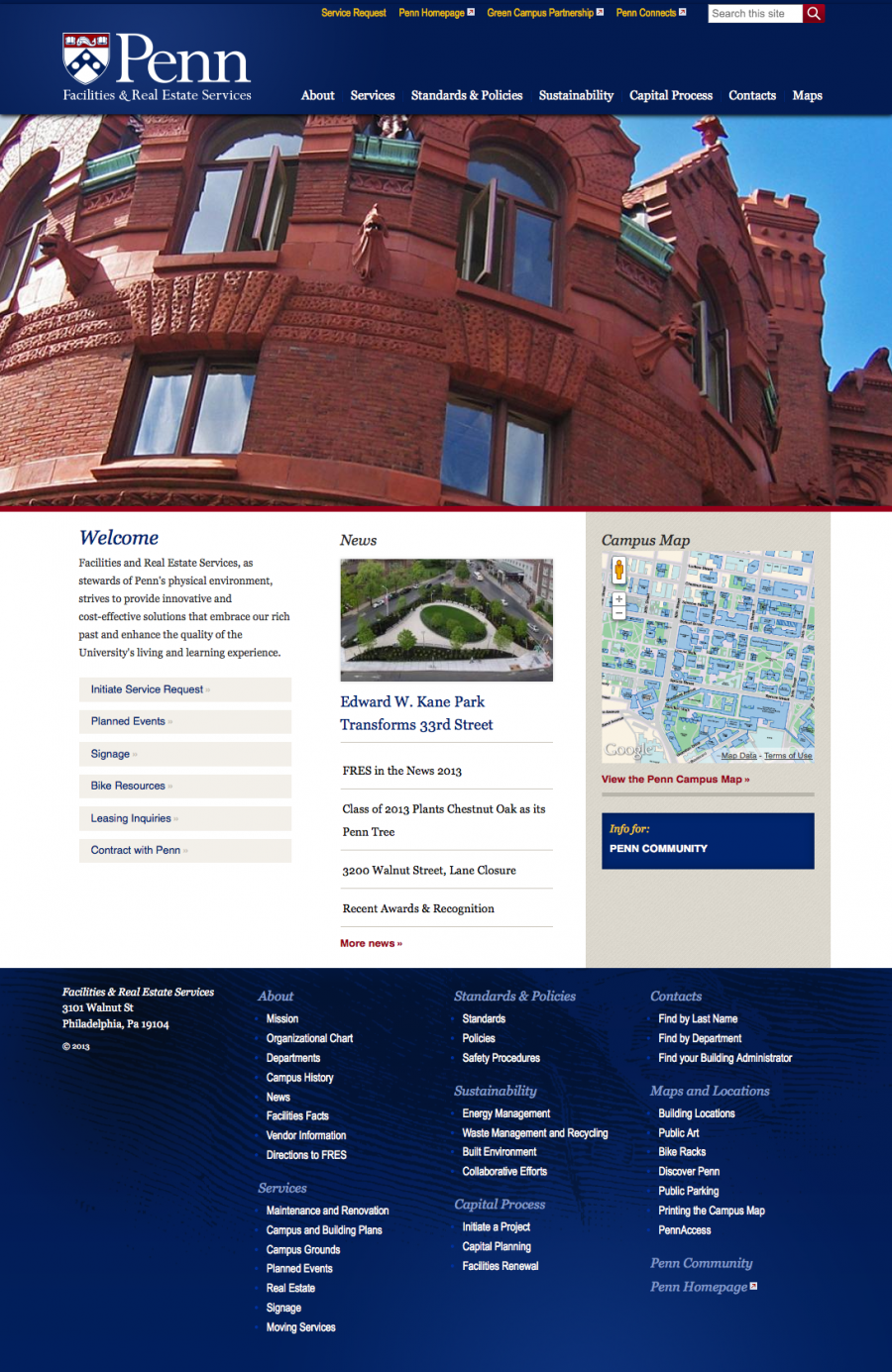 Penn Penn Facilities and Real Estate Services Home Page