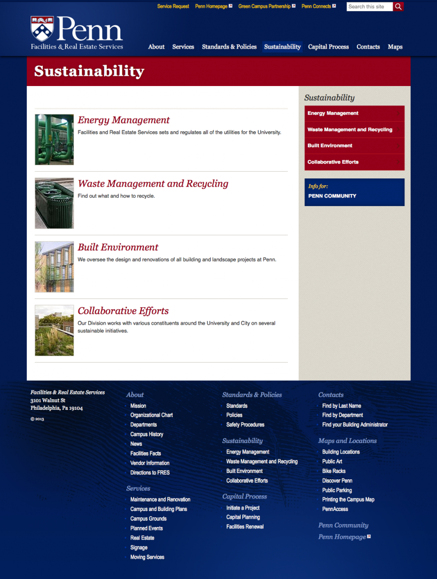 Penn Facilities and Real Estate Services Sustainability Landing Page