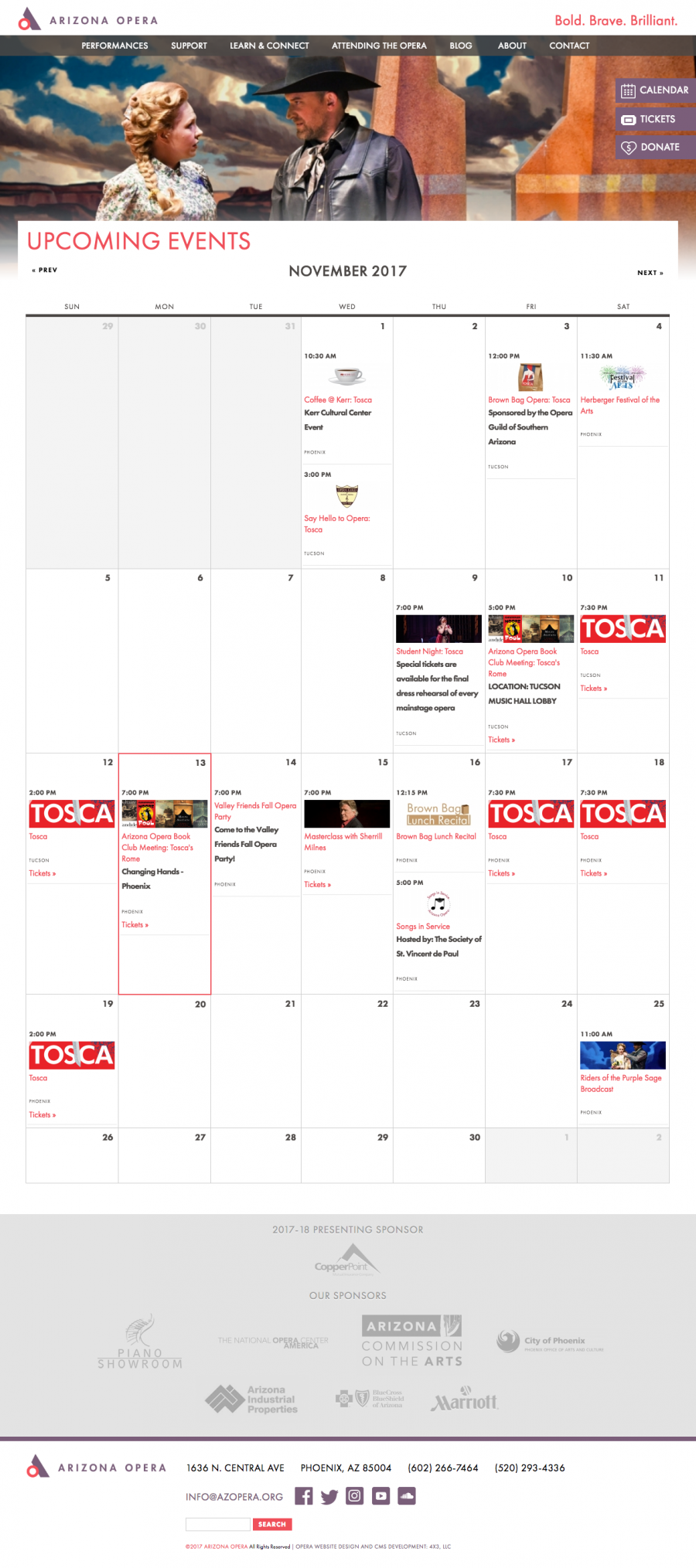 Arizona Opera Calendar Landing Page for Upcoming Events and Performances