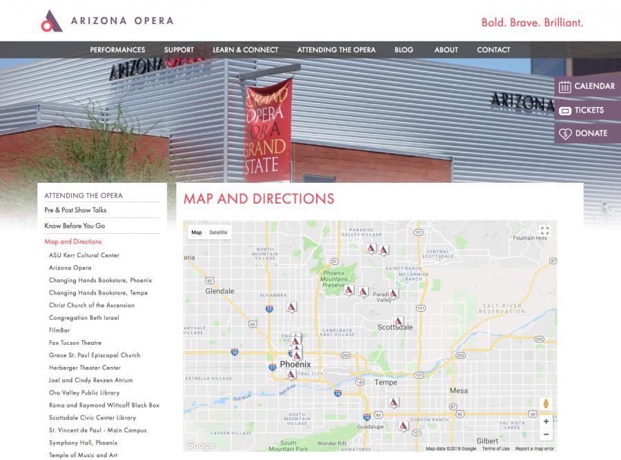 Arizona Opera Map on Directions Page
