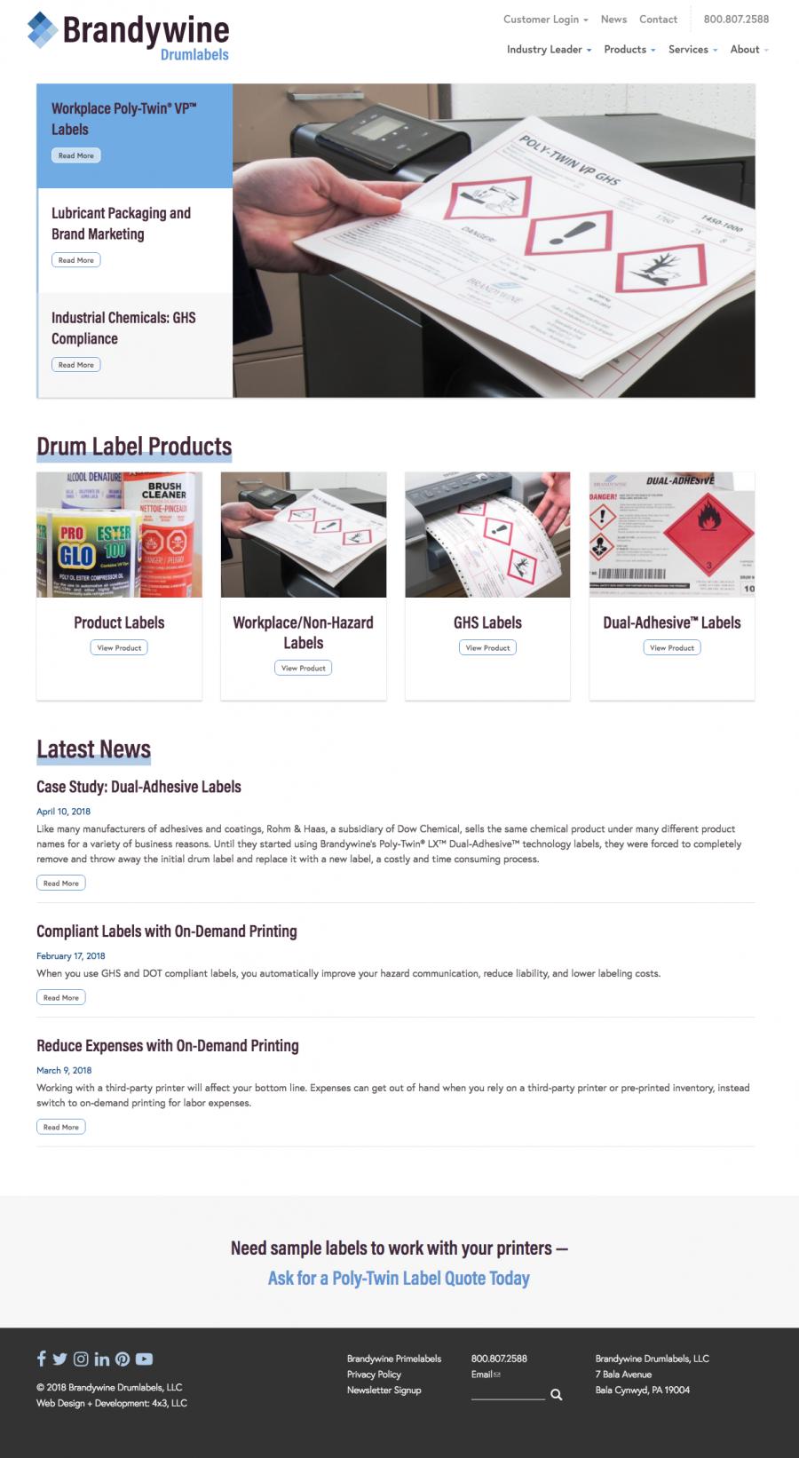 Brandywine Drumlabels Homepage Design