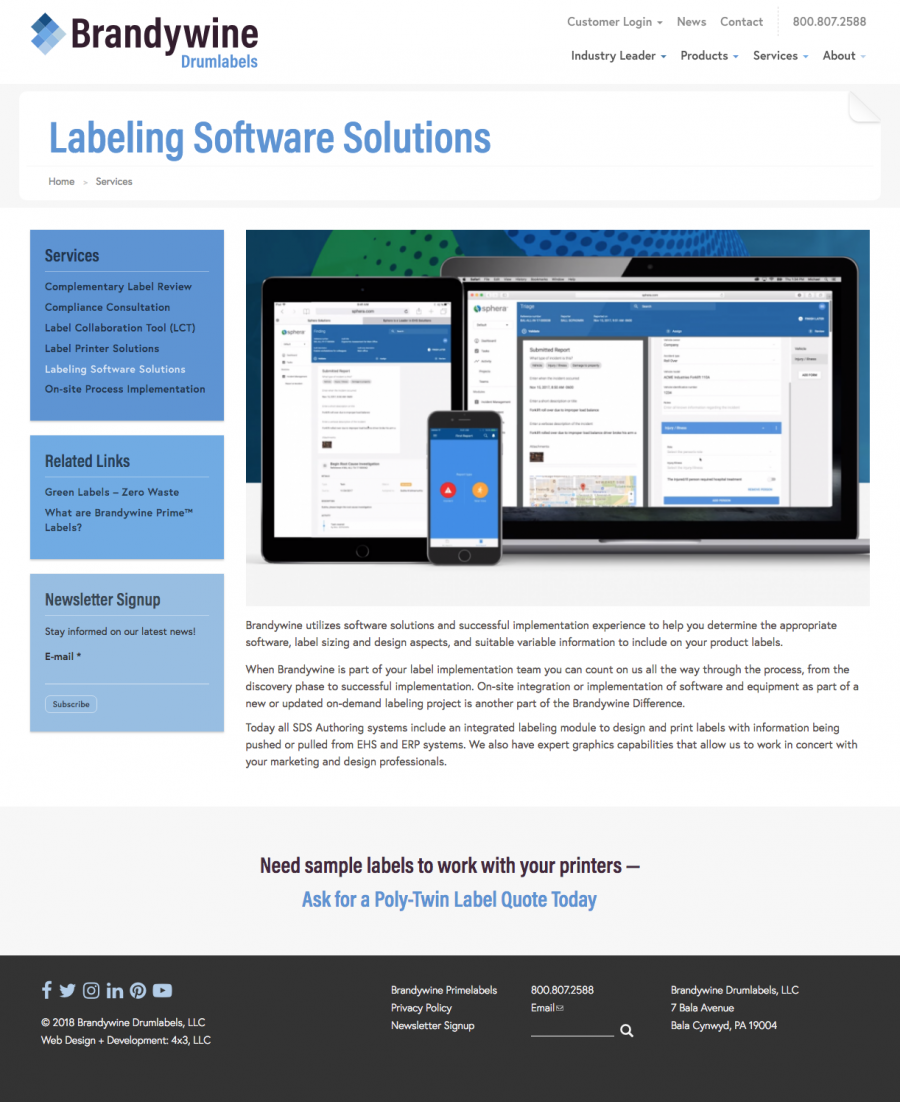 Internal Landing Page for Drumlabels Labeling Software Solutions