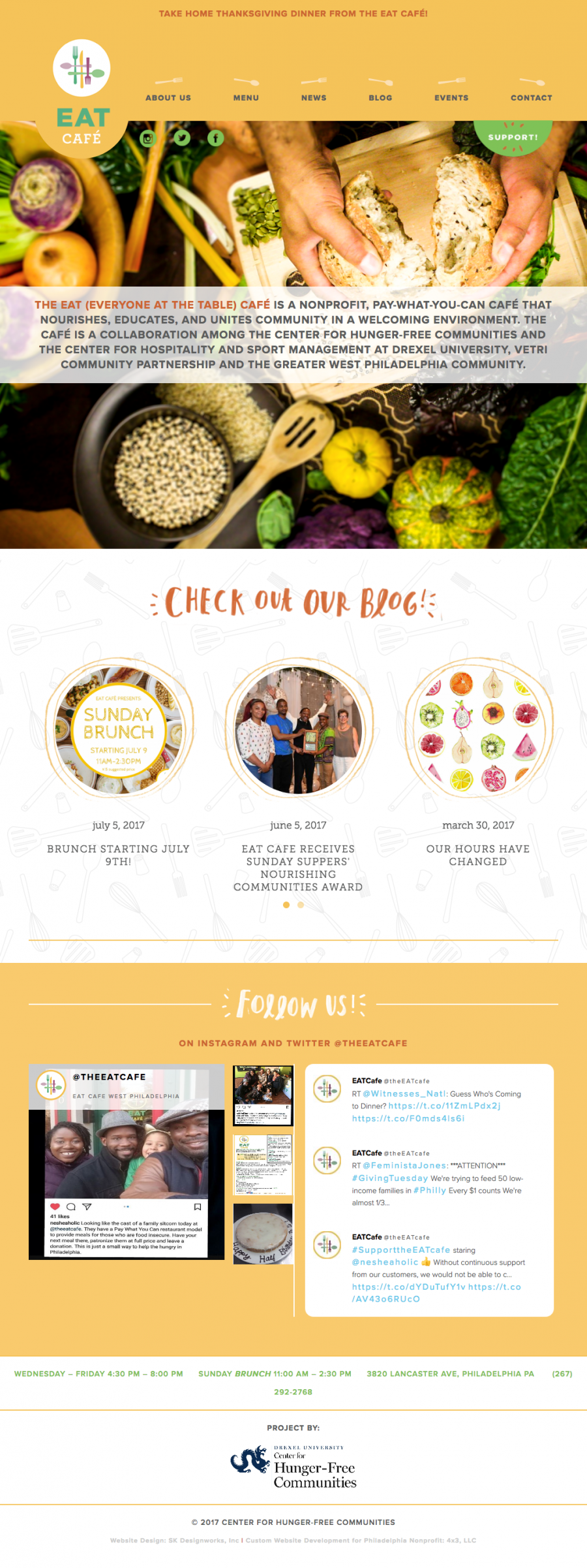 Homepage featuring news, menu items, upcoming events and live social media feeds