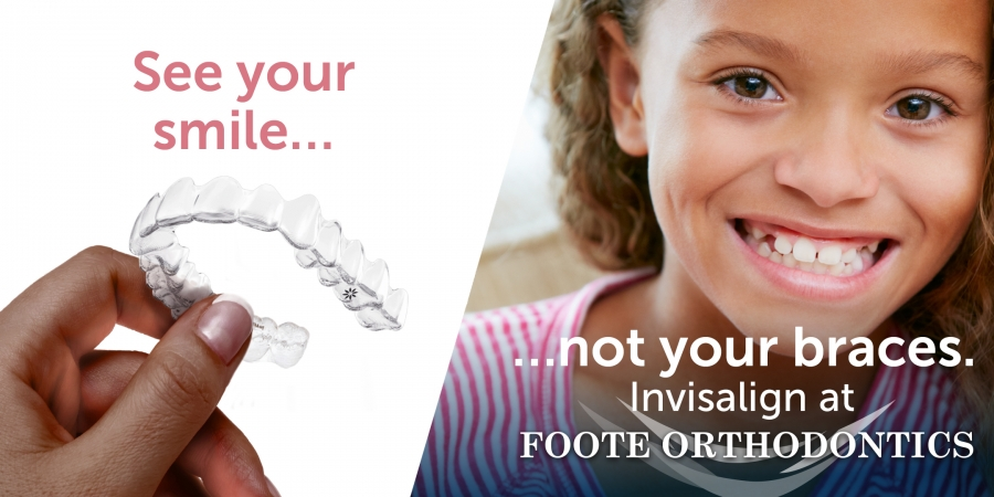 little girl smiling with Invisalign braces
