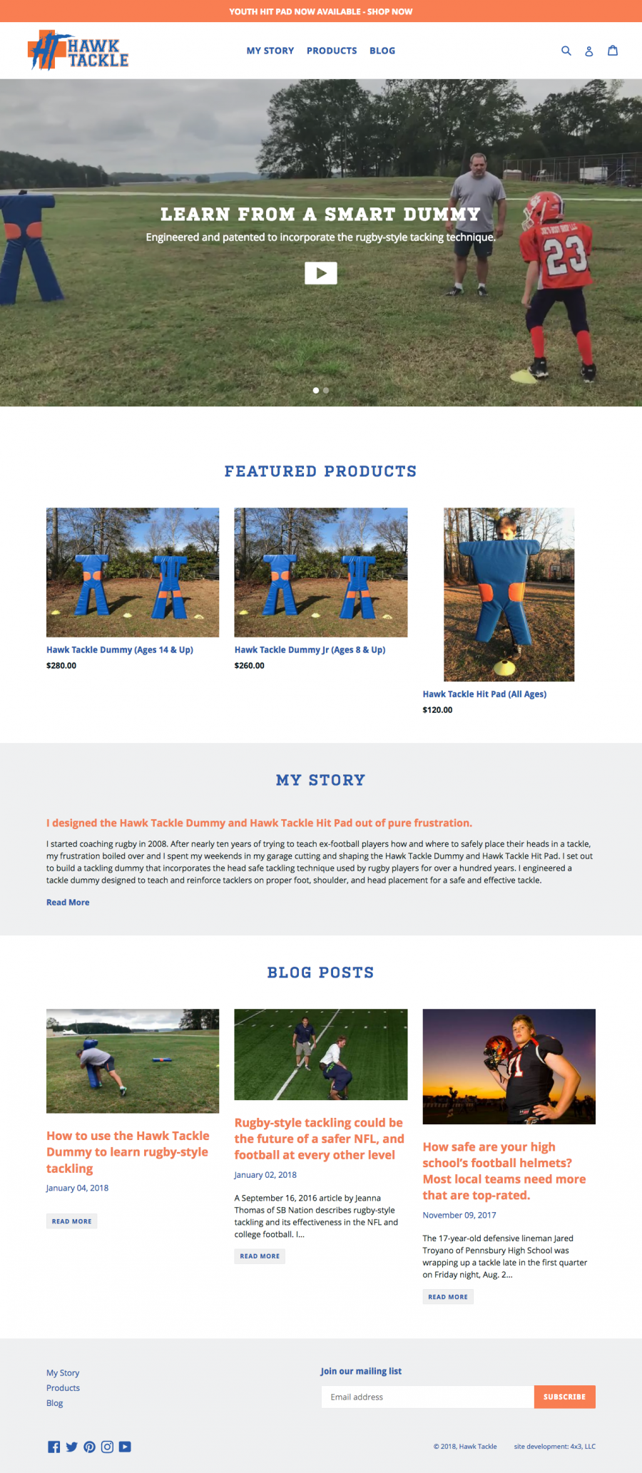 custome-commerce website for rugby Tackle dummies and hit pads