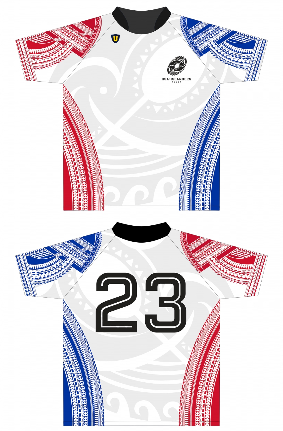 Red, White and Blue custom jerseys for the USA Islanders rugby team