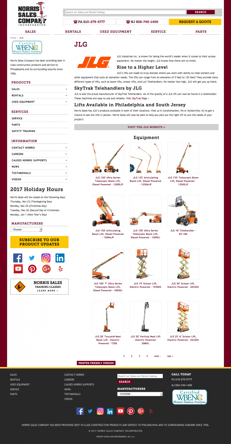 Norris Sales, Internal Landing Page for Manufacturer