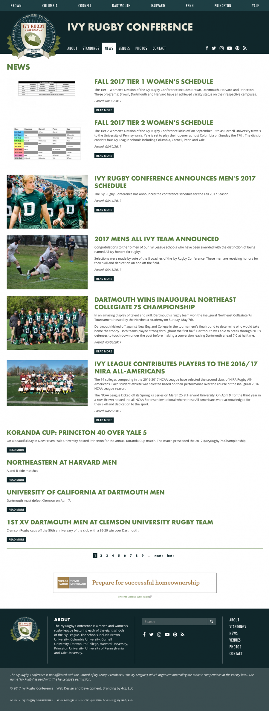 Ivy Rugby News and Upcoming Tournaments Landing Page