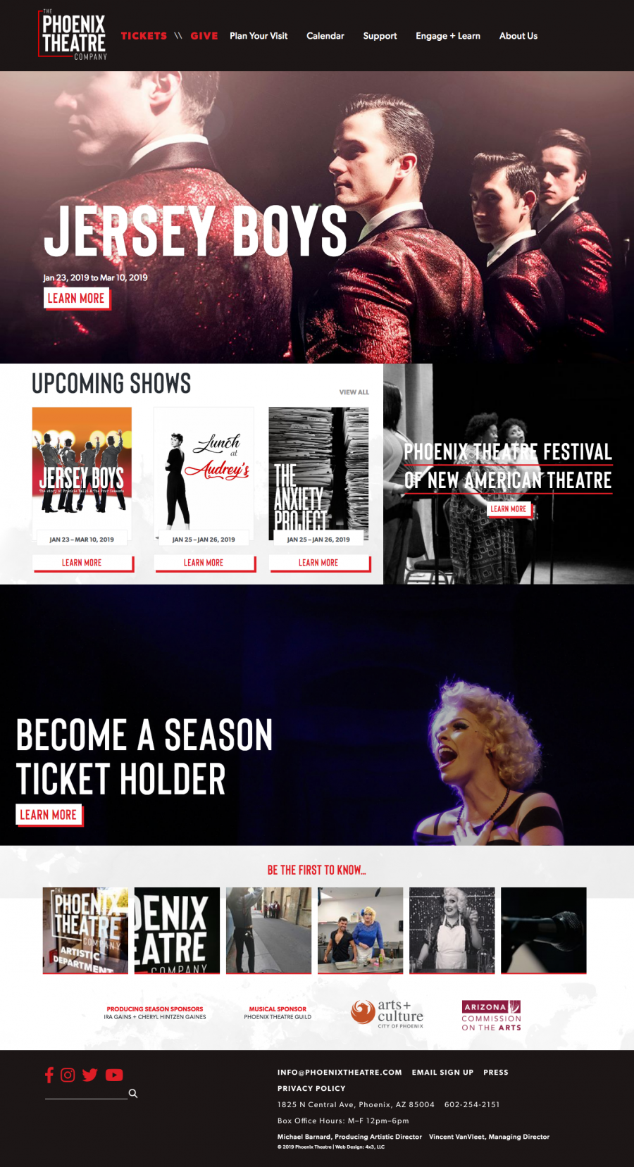 Phoenix Theatre Responsive Website Homepage