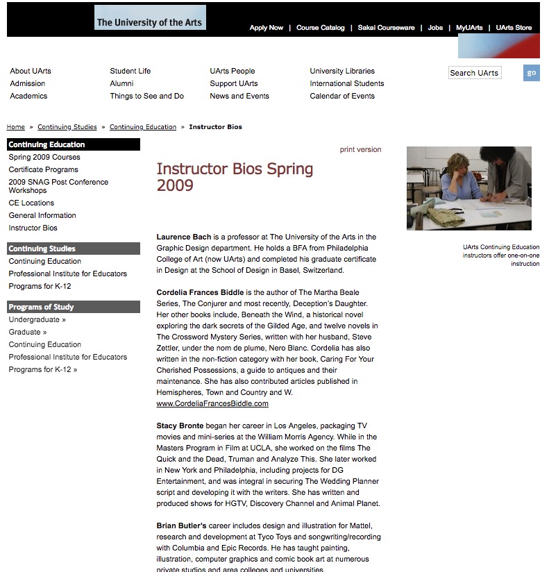 Education Website Faculty Database