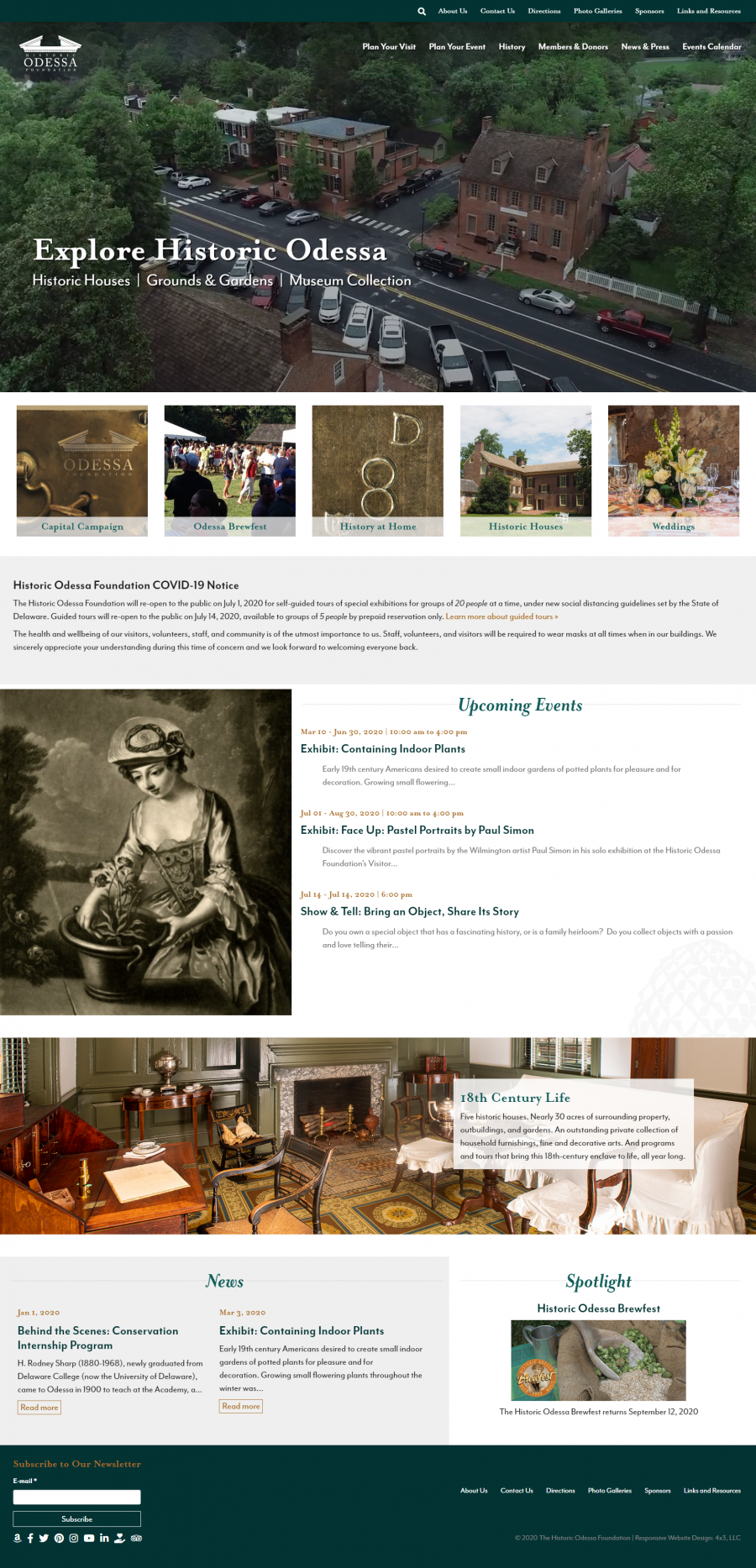 Responsive Web Design, Historic Odessa Foundation Home Page