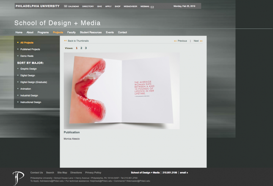 School of Design + Media Portfolio Page
