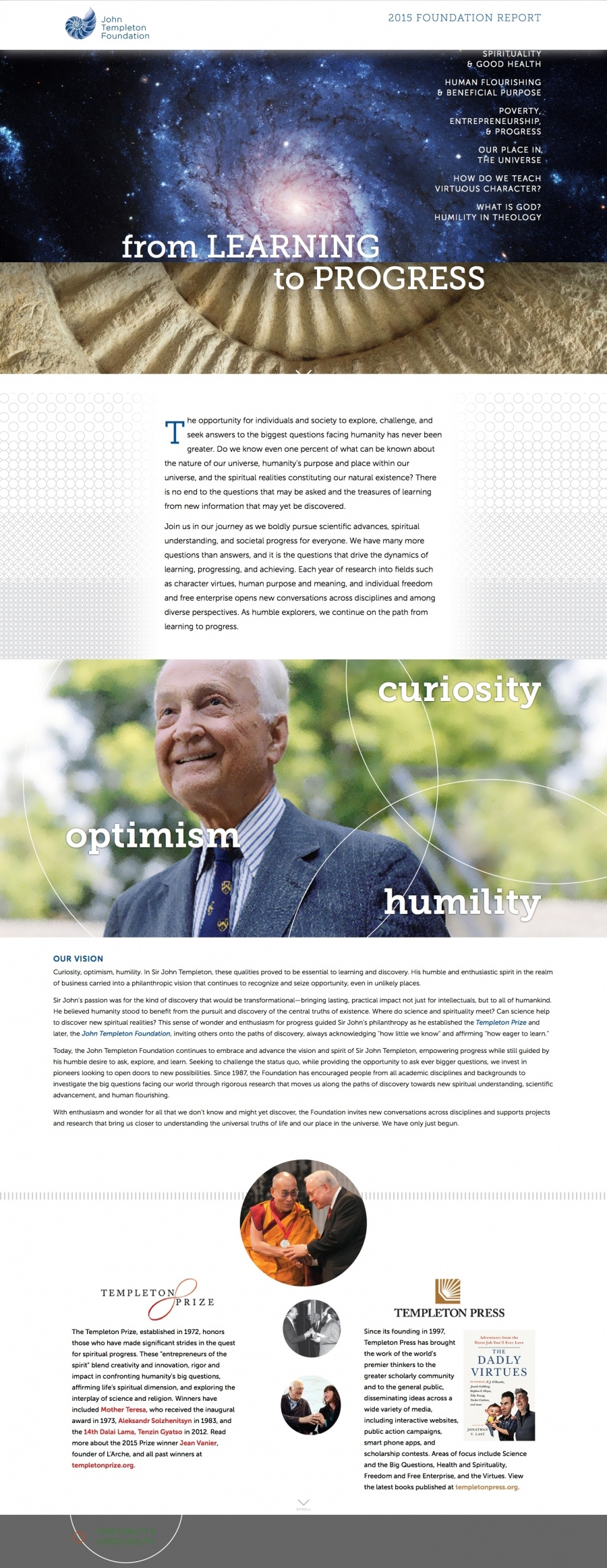 Templeton Foundation Digital Annual Report, Continuous Scrolling Website