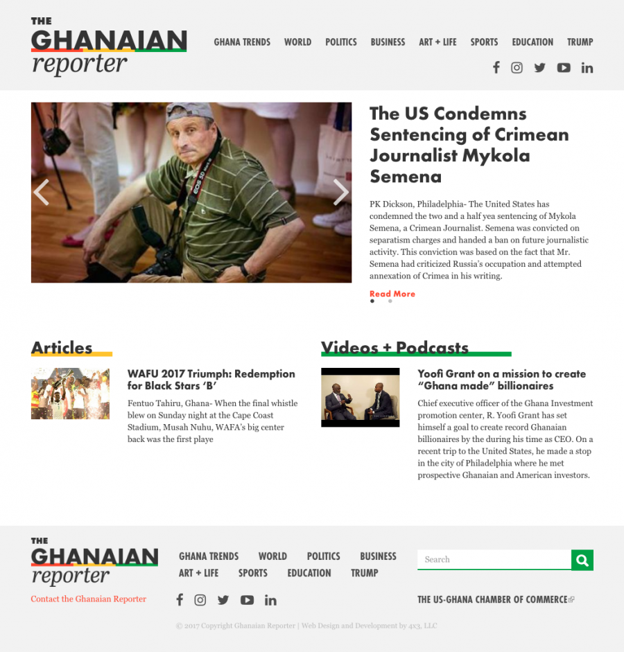 Responsive homepage with news article and main navigation menu