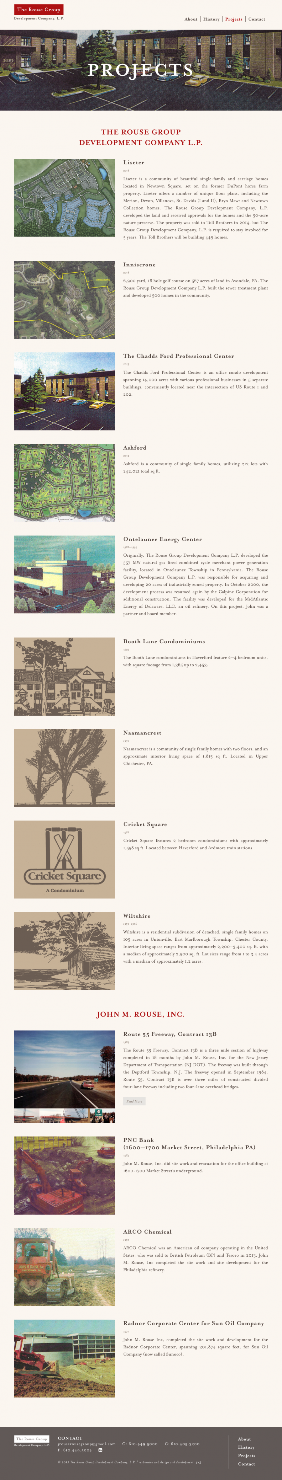 The Rouse Group, completed projects page