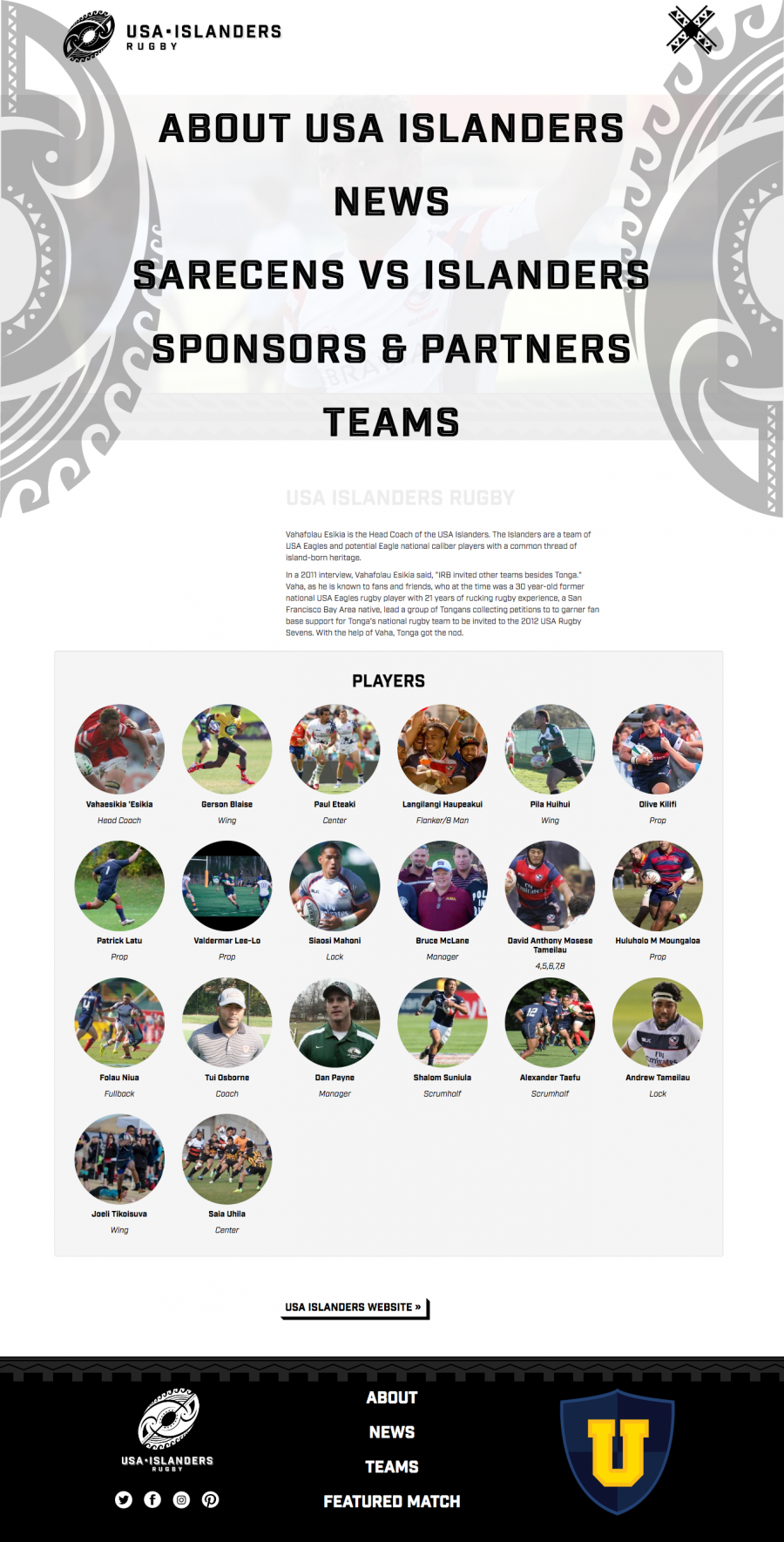 Internal Team Page with Menu, featured players and news