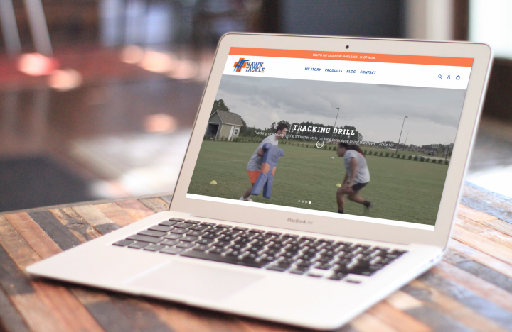 Hawk Tackle Homepage with sliders and branding