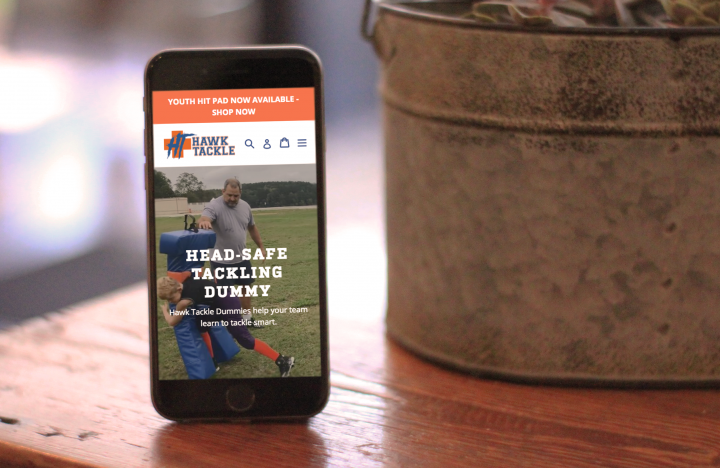 Hawk Tackle mobile homepage on iPhone