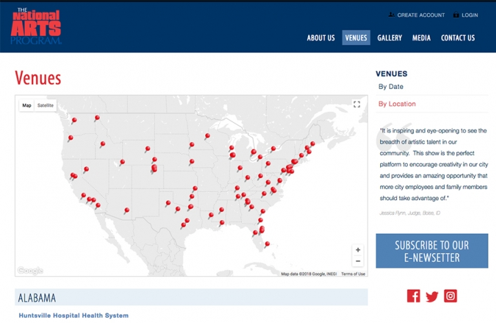 National Arts Program Location Map on Venue Landing Page